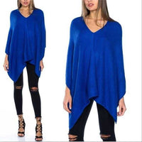 Stunning Blue Knitted Poncho-Sweater-Moda Me Couture