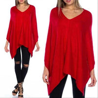 Stunning Red Knitted Poncho-Sweater-Moda Me Couture