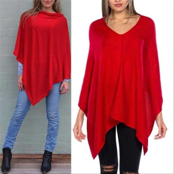 Kerisma Stunning Red Knitted Poncho-Sweater-Moda Me Couture ®