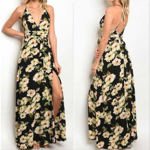 CHIC FLORAL DRESS PRINT MAXI DRESS - MODA ME COUTURE