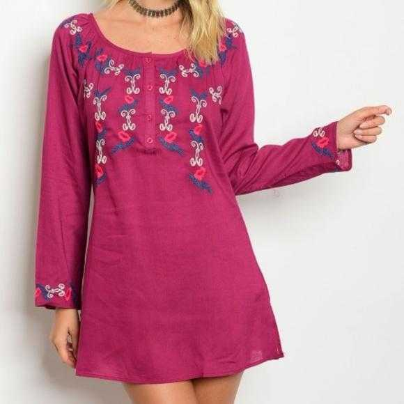 Fuchsia Embroidered Dress-Dress-Moda Me Couture