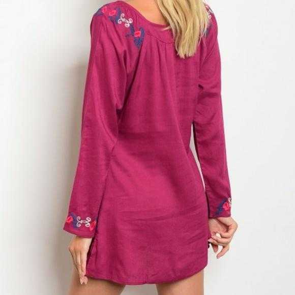 FUSCHIA DRESS WITH EMBROIDERED - MODA ME COUTURE