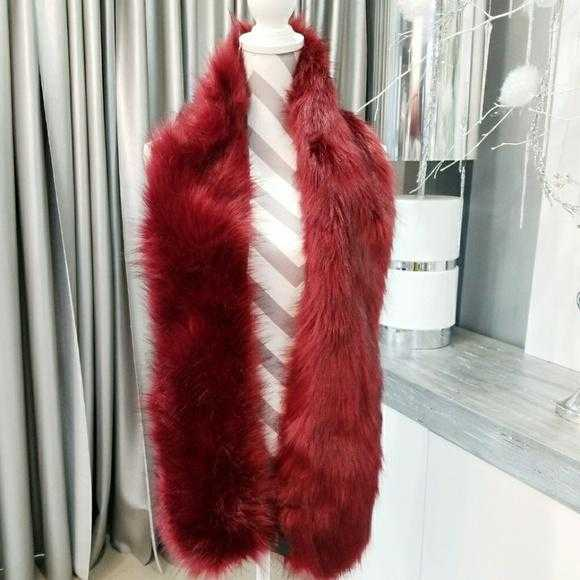 Burgundy Faux Fur Scarf-Accessories-Moda Me Couture