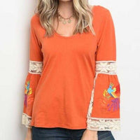 Embroider Orange Top-Tops-Moda Me Couture