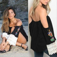 OFF SHOULDER EMBROIDER TOP | JOY HAN