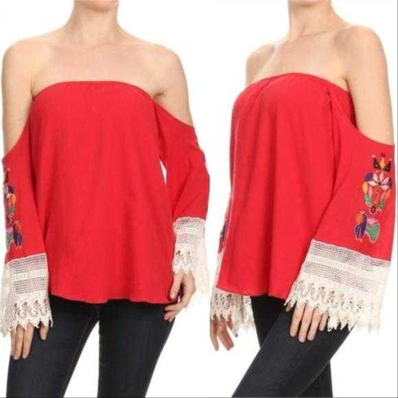 Embroider Red Top-Tops-Moda Me Couture