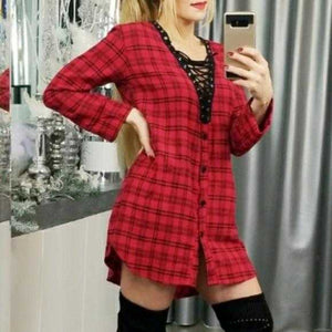 LACE UP PLAID MINI-DRESS | MODA ME COUTURE