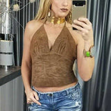 Leather Coachella Brown Halter Crop Top-Tops-Moda Me Couture