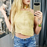 Leather Coachella Tan Crop Top-Tops-Moda Me Couture