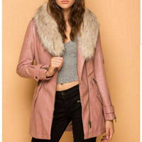 Faux Leather Coat with Fur Collar-Jackets & Coats-Moda Me Couture ®