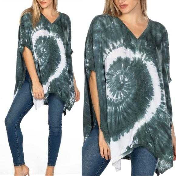 Tie-Dye Poncho Top-Tops-Moda Me Couture