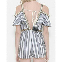 Nautical Cold Shoulder Striped Romper-Pants-Moda Me Couture