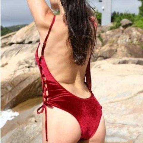 ONE PIECE SWIMSUIT - RED VELVET - MODA ME COUTURE