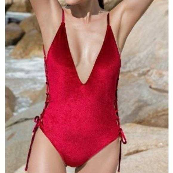 Red Velvet Swimsuit-Swim-Moda Me Couture