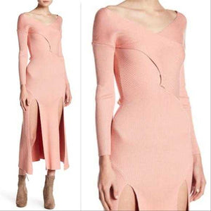 ROSE Ribbed Knit Slit Dress | MODA ME COUTURE