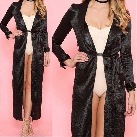 Chic Black Satin Duster-Tops-Moda Me Couture