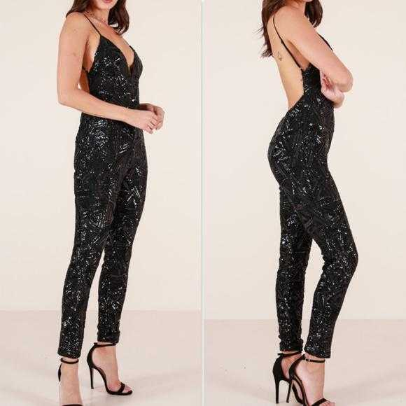 Sequin Jumpsuit Black-Pants-Moda Me Couture
