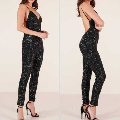 Sequin Jumpsuit Black | MODA ME COUTURE