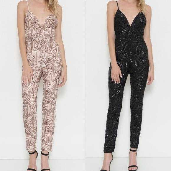 SEQUIN JUMPSUIT - NUDE | MODA ME COUTURE