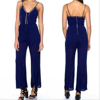 Blue Lattice Jumpsuit-Pants-Moda Me Couture
