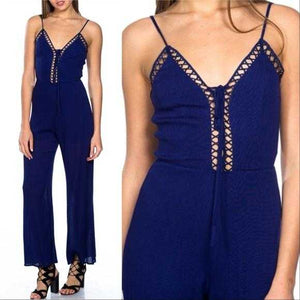 BOHO BEAUTY - BLUE LATTICE JUMPSUIT | MODA ME COUTURE
