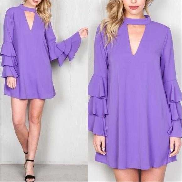 LILAC RUFFLED DETAILED DRESS | MODA ME COUTURE