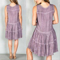 Boho Mauve Tier Shift Dress-Dress-Moda Me Couture ®