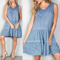 BOHO BEAUTY BLUE SHIFT DRESS | MODA ME COUTURE