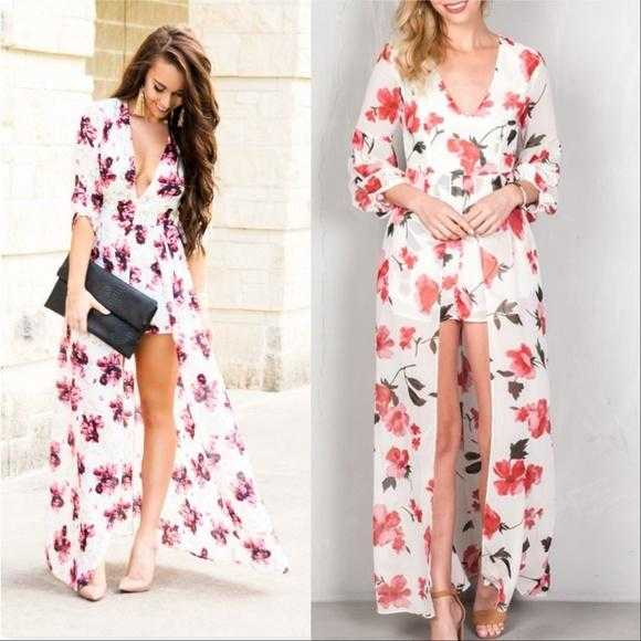 Floral Maxi Romper White-Pants-Moda Me Couture
