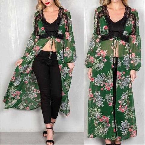 ELOWEN Sheer Floral Duster
