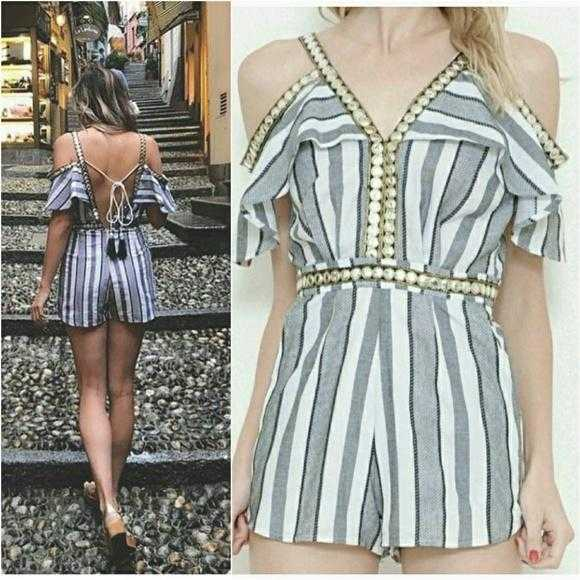 NAUTICAL GIRL - COLD SHOULDER STRIPED ROMPER