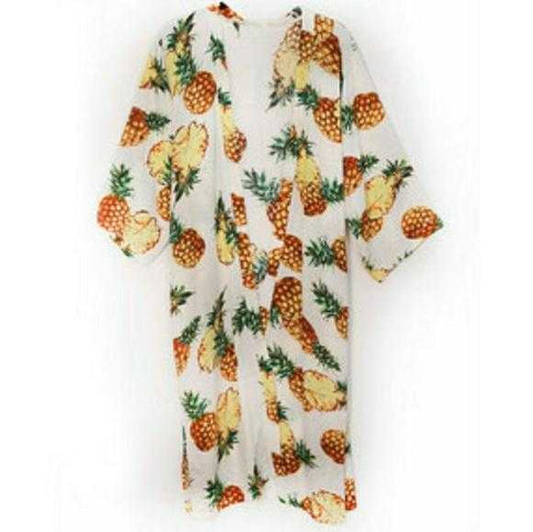 TROPICAL VIBES PINEAPPLE KIMONO / COVER- UP /WRAP