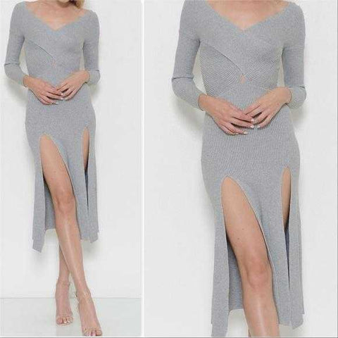 HEATHER RIBBED KNIT SLIT DRESS | MODA ME COUTURE