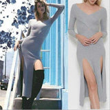 Heather Ribbed Knit Slit Dress-Dress-Moda Me Couture