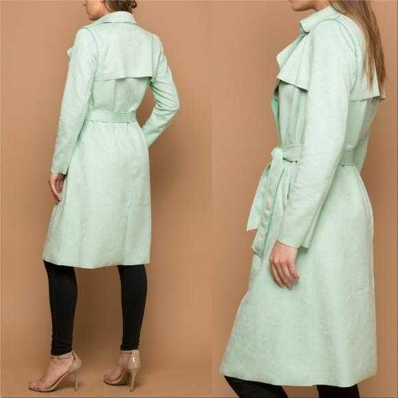 MINT GREEN FAUX SUEDE TRENCH JACKET