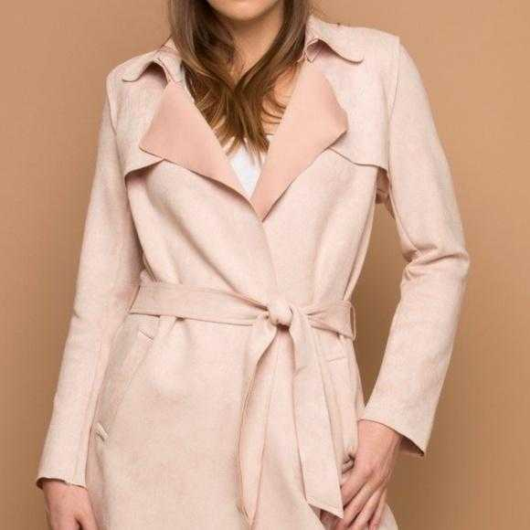 BLUSH PINK FAUX SUEDE TRENCH JACKET | MODA ME COUTURE