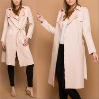 Classic Pink Faux Suede Trench Coat-Jackets & Coats-Moda Me Couture