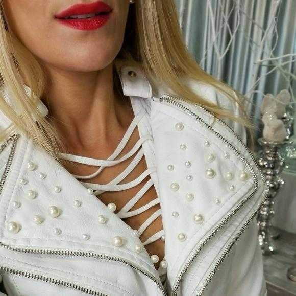 LET'S TALK PEARLS FAUX LEATHER JACKET WHITE