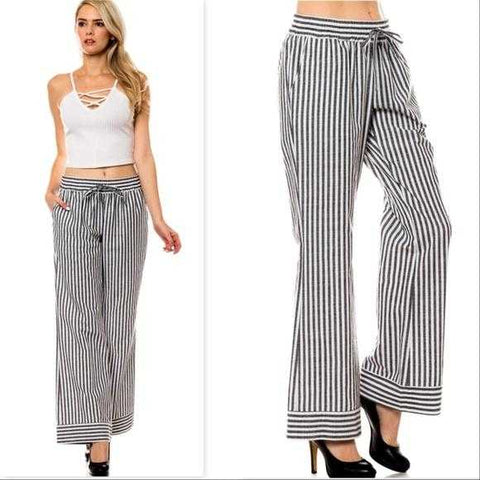 Nautical Girl STRIPED WIDE LEGGED PANTS