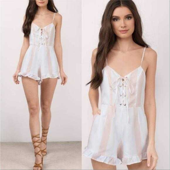 Blush Striped Lace-up Romper-Pants-Moda Me Couture