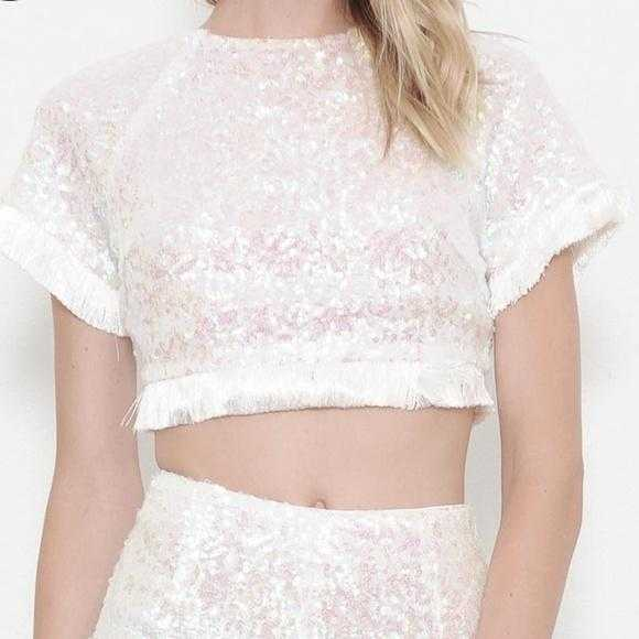 WHITE SEQUIN 2 PIECE SET