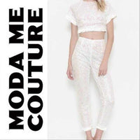 White Sequin 2 Piece Set-Pants-Moda Me Couture