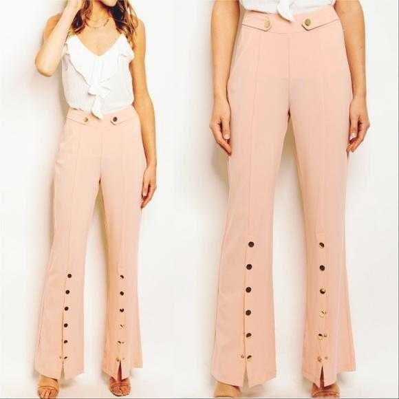 BLUSH BUTTON DETAIL PANTS / TROUSERS