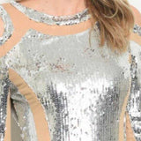 Sexy Silver Sequin Mini Dress-Dress-Moda Me Couture ®