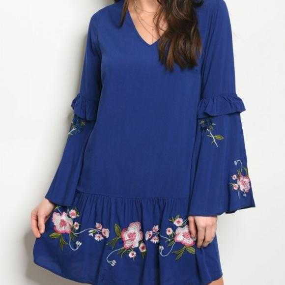 Boho Beauty In Blue Dress-Dress-Moda Me Couture