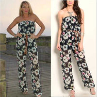 Floral Strapless Jumpsuit-Pants-Moda Me Couture