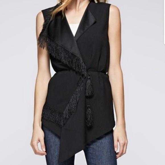 Modern Black Vest With Fringe-Jackets & Coats-Moda Me Couture
