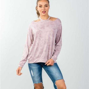 BLUSH ACID WASH PULLOVER