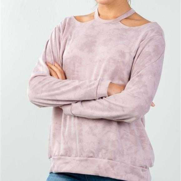Blush Acid Wash Pullover-Tops-Moda Me Couture