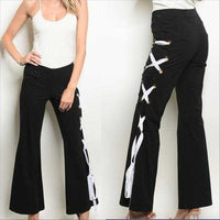 Black Pants with White Lace Up detail-Pants-Moda Me Couture